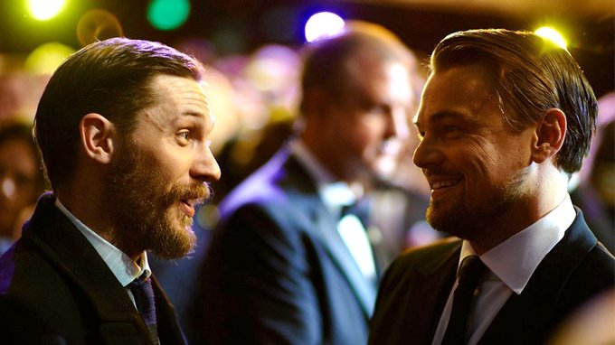 Happy birthday to Tom Hardy!  here he is with Leonardo DiCaprio at the Film Awards in 2014