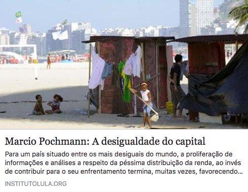 Leia o artigo de Marcio Pochmann 'A desigualdade do capital':  https://t.co/cNFpjumwSN