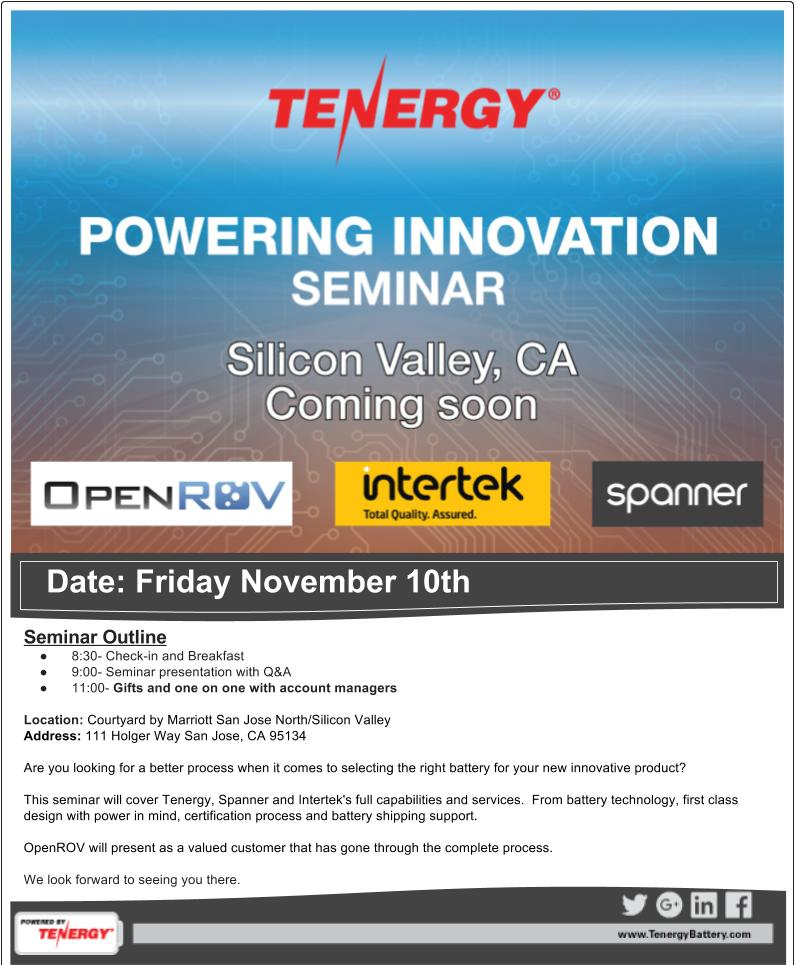 #Powering #Innovation #Seminar #SiliconValley Happy to announce Tenergy's first Seminar! https://t.co/C7q0tFubhz