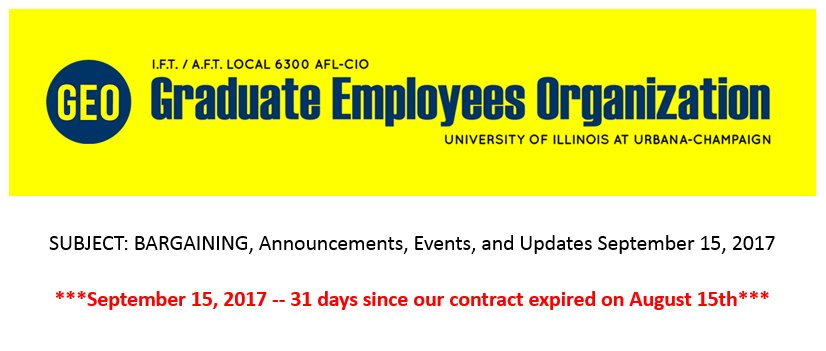 It&#39;s been 31 days since our contract expired on August 15, 2017. We&#39;ve been working without a new contract #GradWorkers #UnionStrong<br>http://pic.twitter.com/mavmiYc9fS