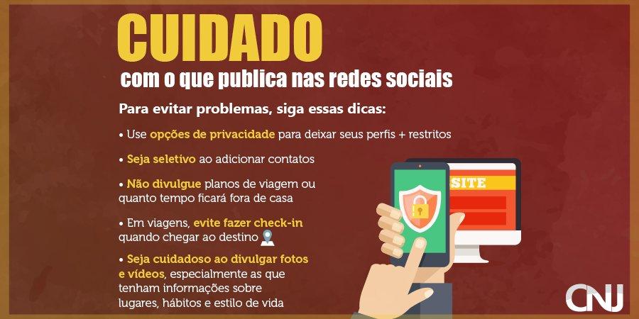 Confira a cartilha publicada pelo @CNJ_oficial com dicas de #segurança nas redes: https://t.co/qE2PQA2wxx 📱