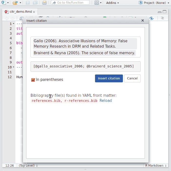 Use #BibTeX with @rstudio? Search and insert references with just a few keystrokes with the citr add-in:  https:// github.com/crsh/citr  &nbsp;   #rstats<br>http://pic.twitter.com/4TvtzdN3WW