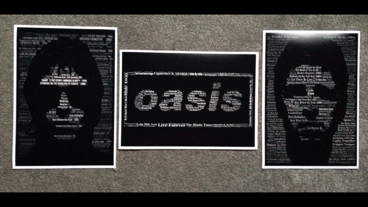 Know an Oasis fan? I'm giving these Oasis prints to a follower at 11pm To enter; - RT - Follow me Nice one