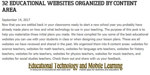 32 #Educational #Websites Organized by Content Area  https:// goo.gl/dHbmLM  &nbsp;   #edtech #elearning #mlearning #EdApps <br>http://pic.twitter.com/18N3zszLS5