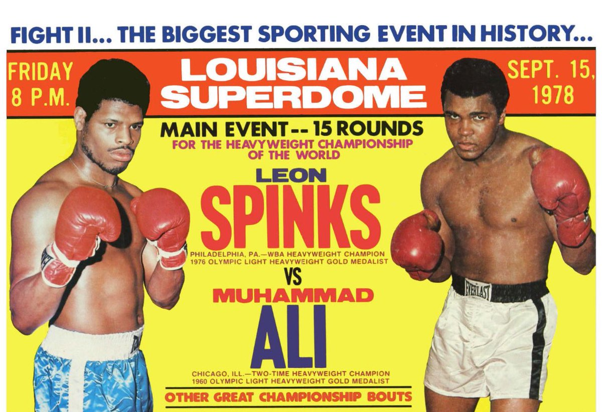 """Super 70s Sports på Twitter: """"Today in 1978, Muhammad Ali defeats Leon Spinks in their rematch to become the first three-time heavyweight champion.… https://t.co/5fE8MxjNzJ"""""""