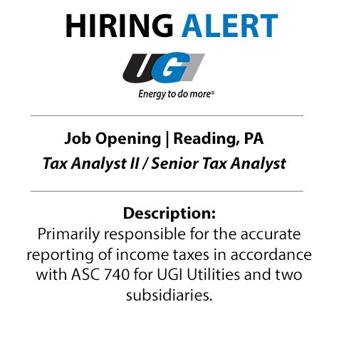 test Twitter Media - UGI is looking for a Tax Analyst to join our team in Reading. Follow the link to apply today: https://t.co/oz47yfZZqF https://t.co/YCqyn8GkH6