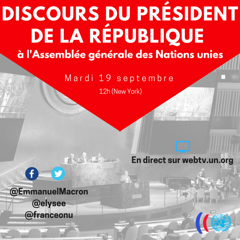 Dans 1h en direct sur https://t.co/cFG4QxiHV4  @EmmanuelMacron  @Elysee  #UNGA