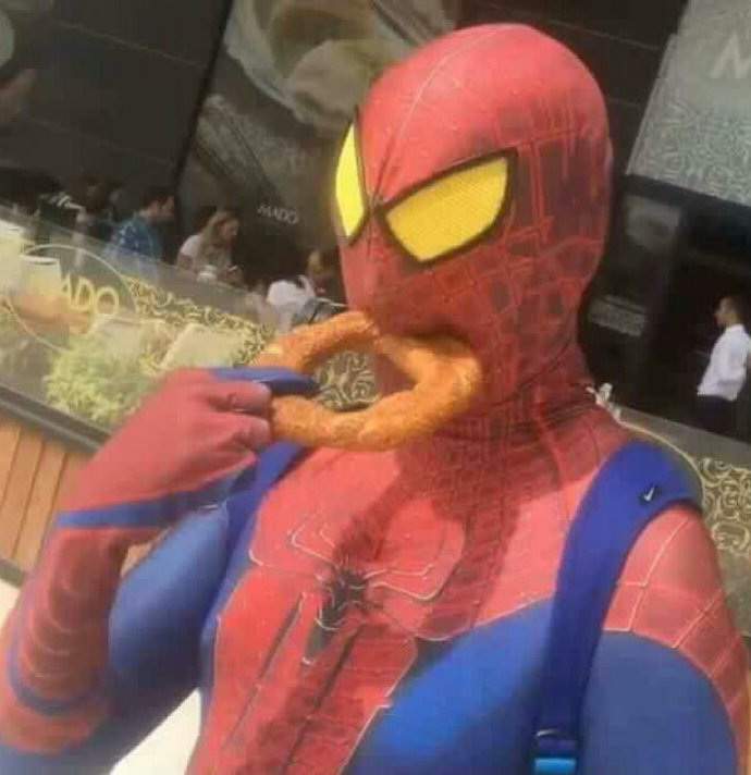 Image result for spiderman eating large onion ring