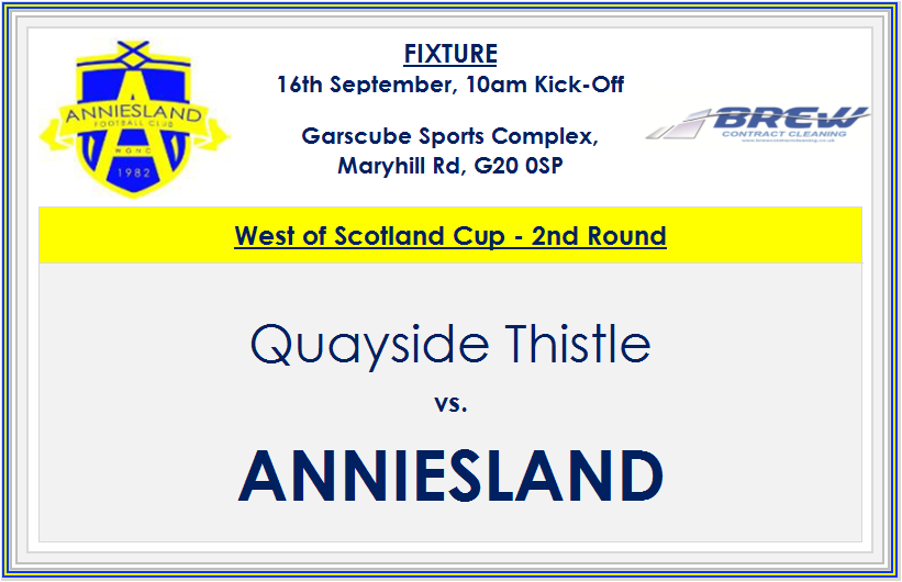 2/7 Good luck to .@QuaysideThistle as they host @AnnieslandAFC in the @ScotAmFAWest . 10am KO at Garscube. #MTQ #Theesel <br>http://pic.twitter.com/2wDhK7mnSN