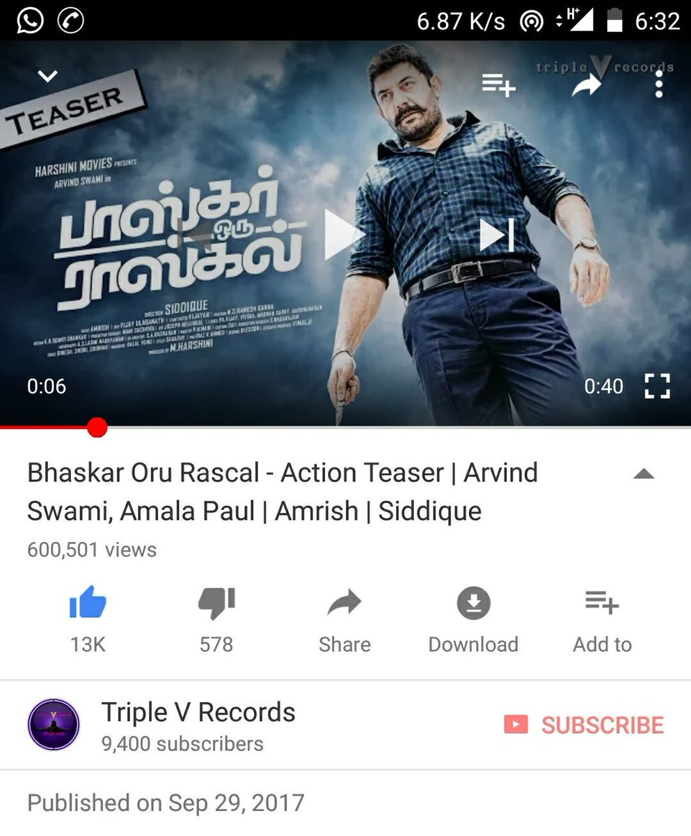 #BhaskarOruRascal #Teaser Crossed #6Lakh Views in 24Hrs #YouTube #ThankYouAll #ArvindSwami #Mass #Amrish #Siddique    https:// youtu.be/X40f8Lxc_0Q  &nbsp;  <br>http://pic.twitter.com/1OjhQtV2ps