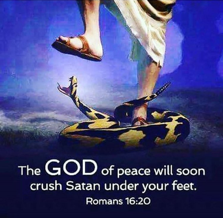 """Turn Back To Yahweh ✝️ on Twitter: """"The GOD of Peace will soon crush Satan  Under Your Feet. Romans 16:20 #Hallelujah #IJNA… """""""