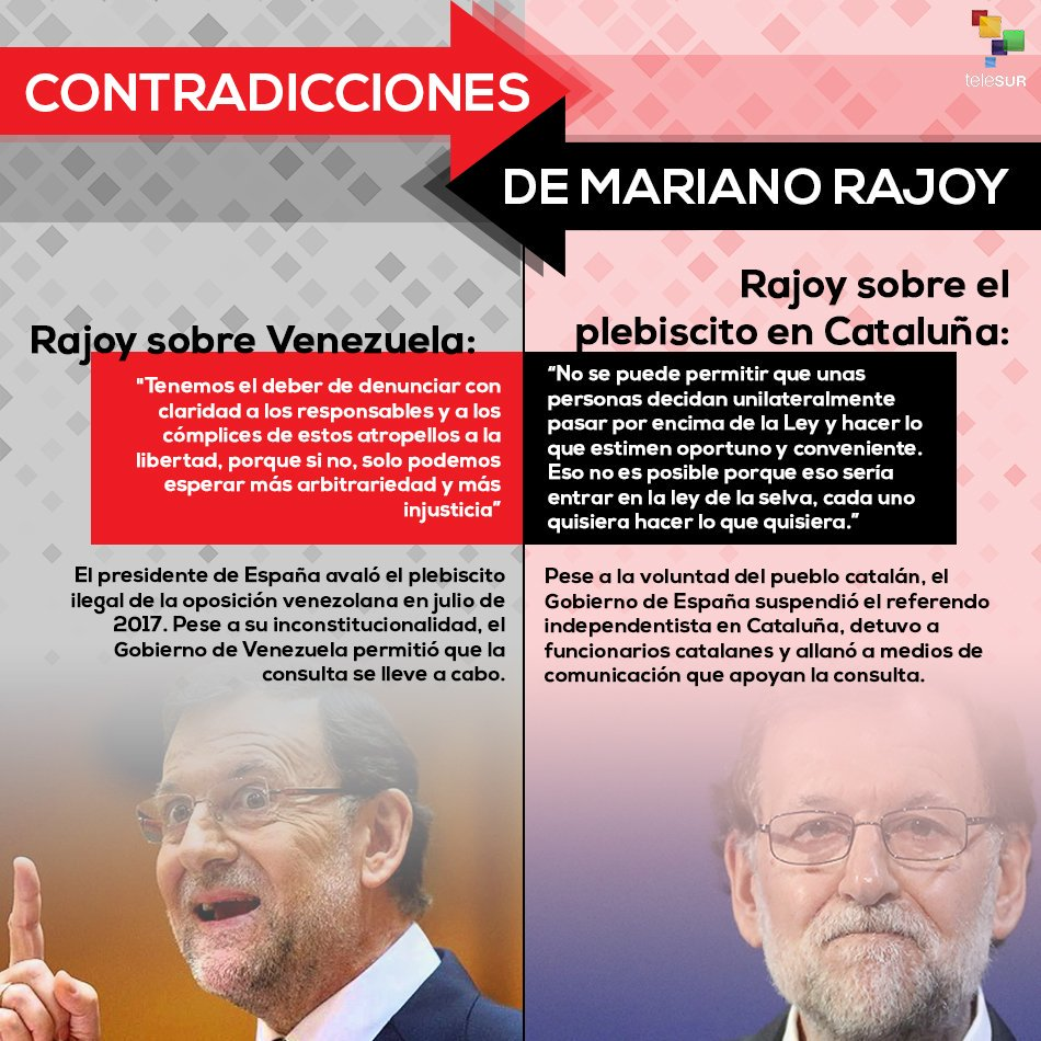¿Por qué Rajoy apoyó la consulta ilegal de la oposición venezolana pero impide el referendo en #Cataluña? https://t.co/T27IxTZGPh