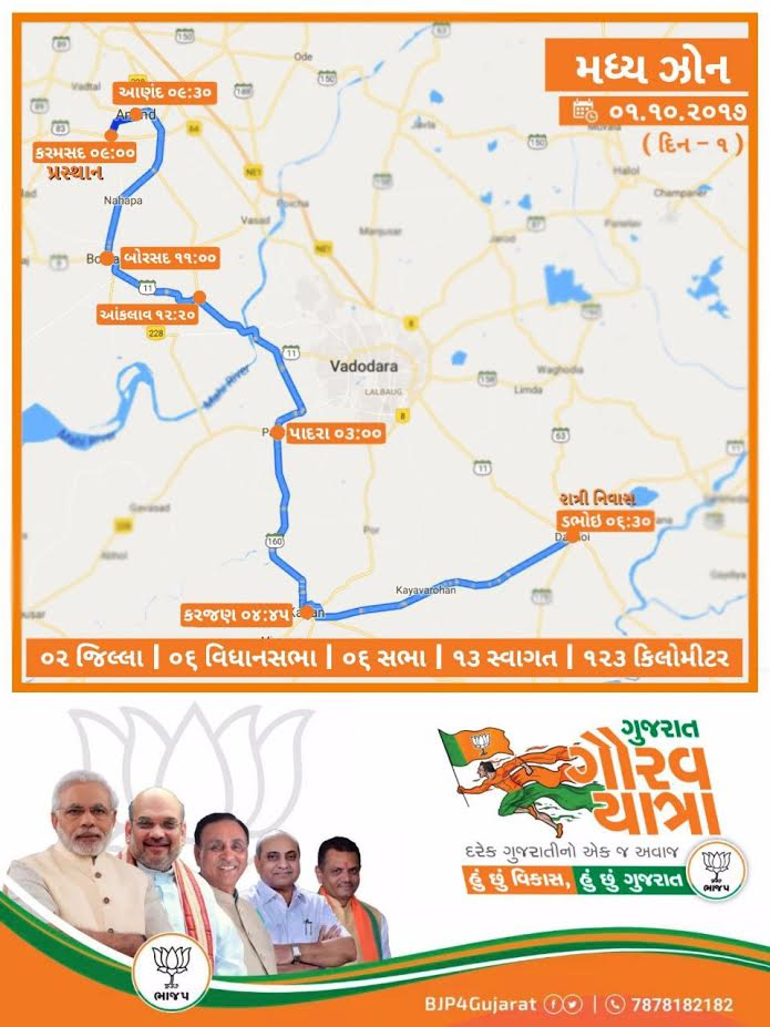 Gujarat Gaurav Yatra for Central and North Gujarat to be launched tomorrow at Karamsad