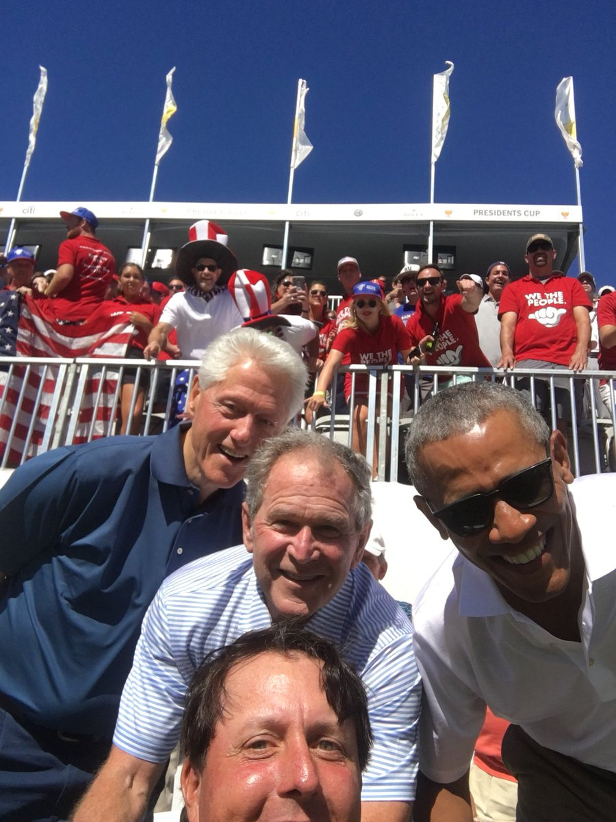 Presidents Cup 2017: Phil Mickelson took a selfie with Obama, Bush and Clinton before his match and it's amazing