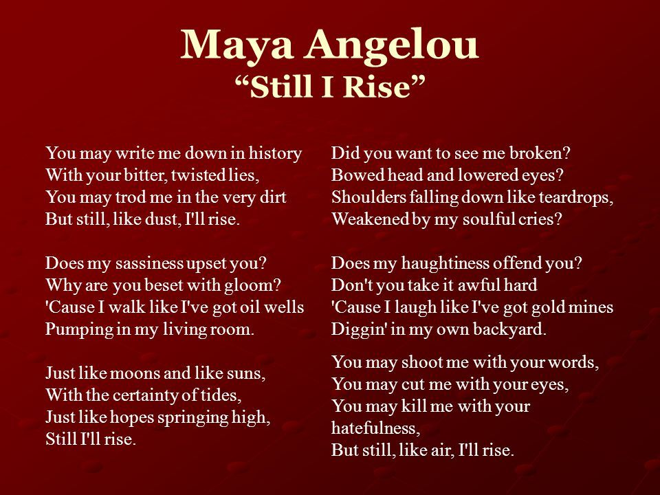 what is still i rise by maya angelou about