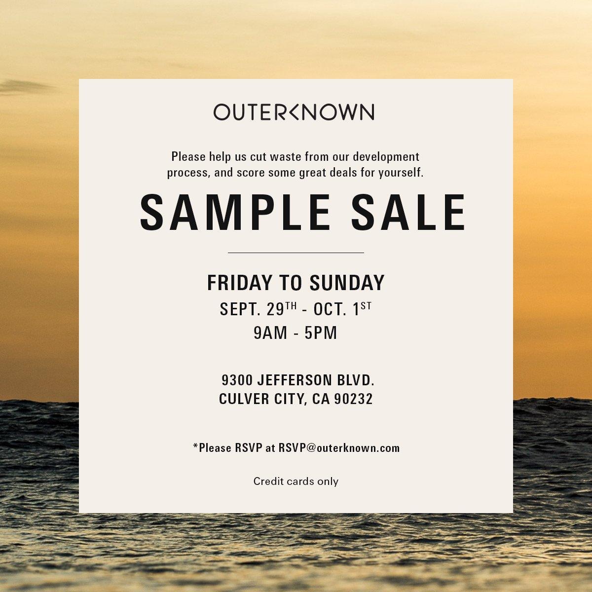 This Friday through Sunday - @outerknown_live is hosting its 2nd annual sample sale! Join us tomorrow!