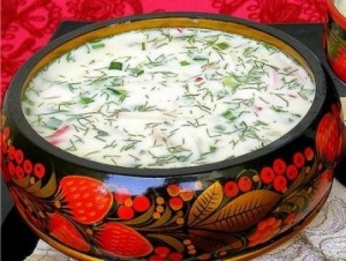 Рецепт окрошка с семгой