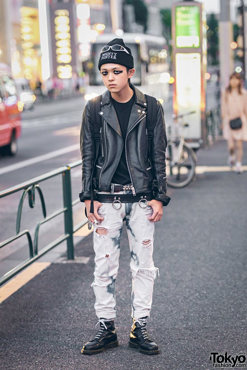 864c70379926 harajuku guys in punk inspired styles w fetis 666 japan 99is bounty hunter  dr martens amp