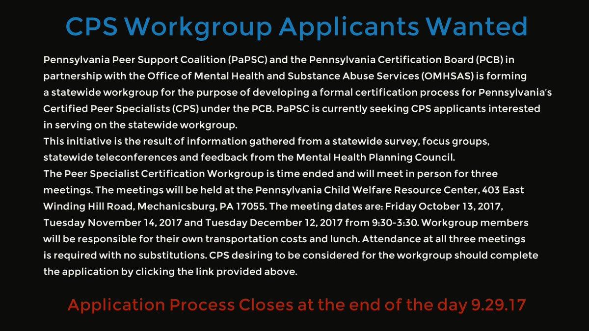 Papsc On Twitter Pennsylvania Certified Peer Specialists
