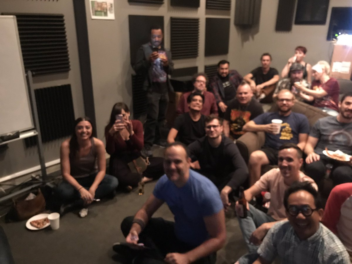 Rick and Morty crew watching S3 finale. Love these hard working bad asses!!