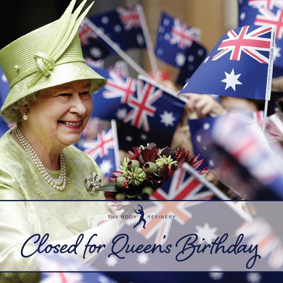 The Body Refinery will be closed for the Queen&#39;s Birthday Public Holiday on Monday 2 October.  Thank you for your understanding, we wish you a great long weekend.  #pilates #pilatesstudio #pilatesbrisbane #pilatesnewfarm #thebodyrefinery #queensbirthday #publicholiday<br>http://pic.twitter.com/MIb0epCXkJ