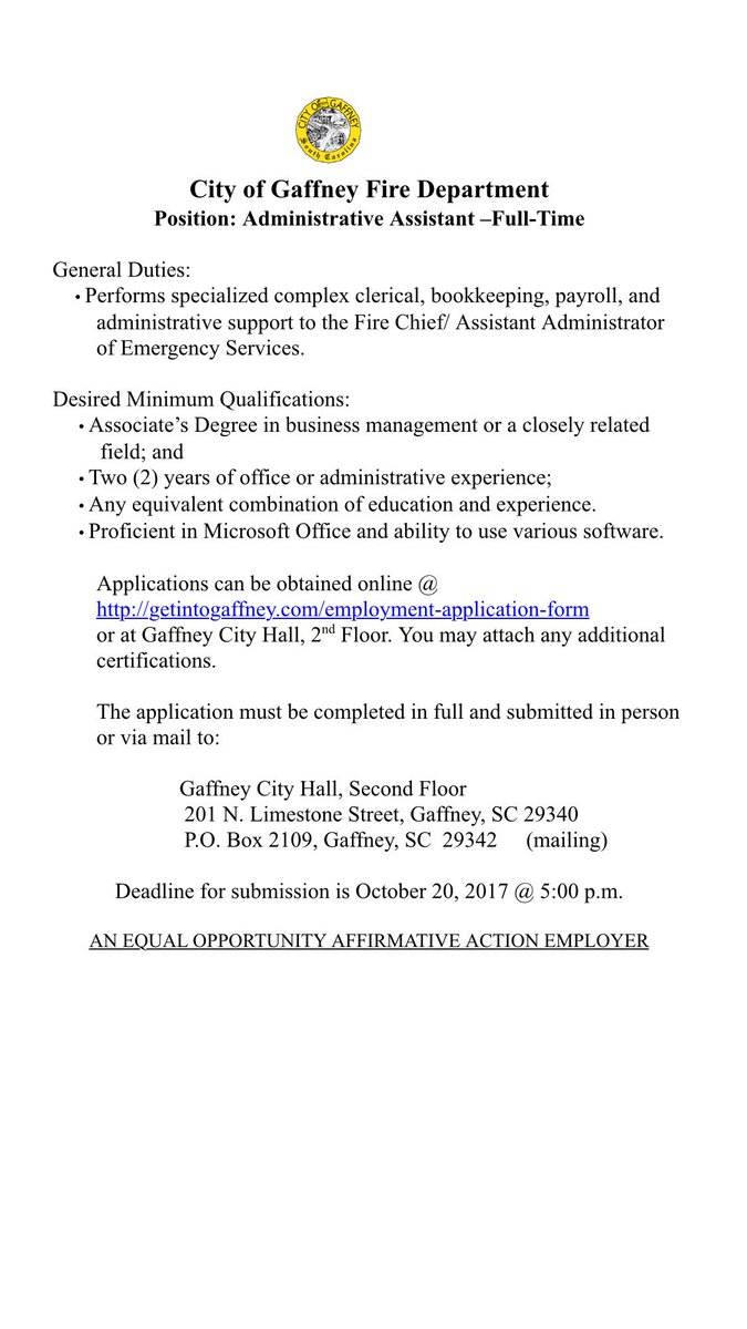 Gaffney Fire Dept GaffneyFire – Fire Service Application Form