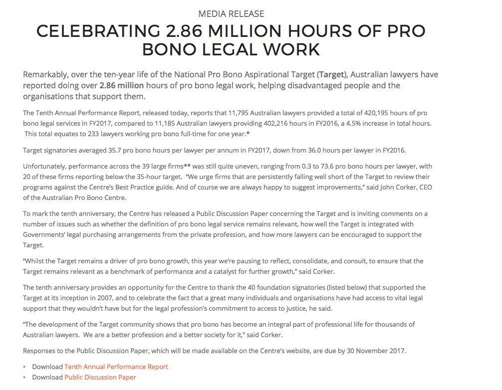 "aus pro bono centre on twitter: ""media release: celebrating 2.86"