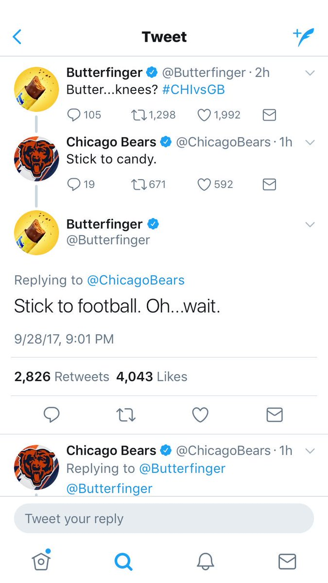 Bears getting rolled by Packers AND a candy bar. https://t.co/pSyTFzhmsk