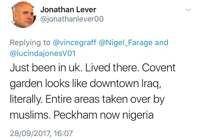 I've visited Covent Garden to check and he's right, it's like 'downtown Iraq'