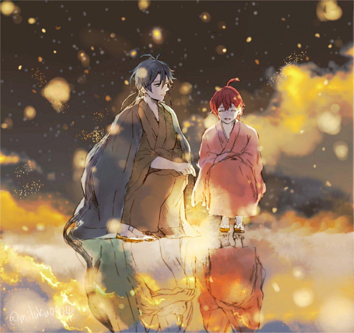 *蛍火の畔で咲いた花の火  また終らない夏をきみと二人で  *あくだざ  #文アル