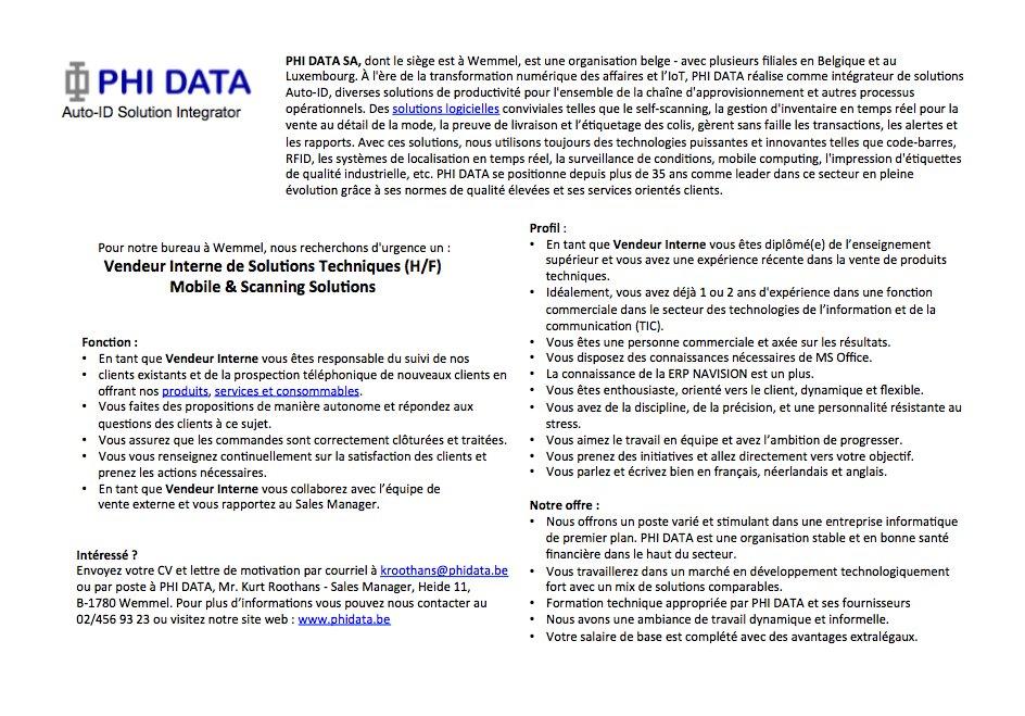 Phi Data On Twitter Phi Data Cherche Un Vendeur Interne De