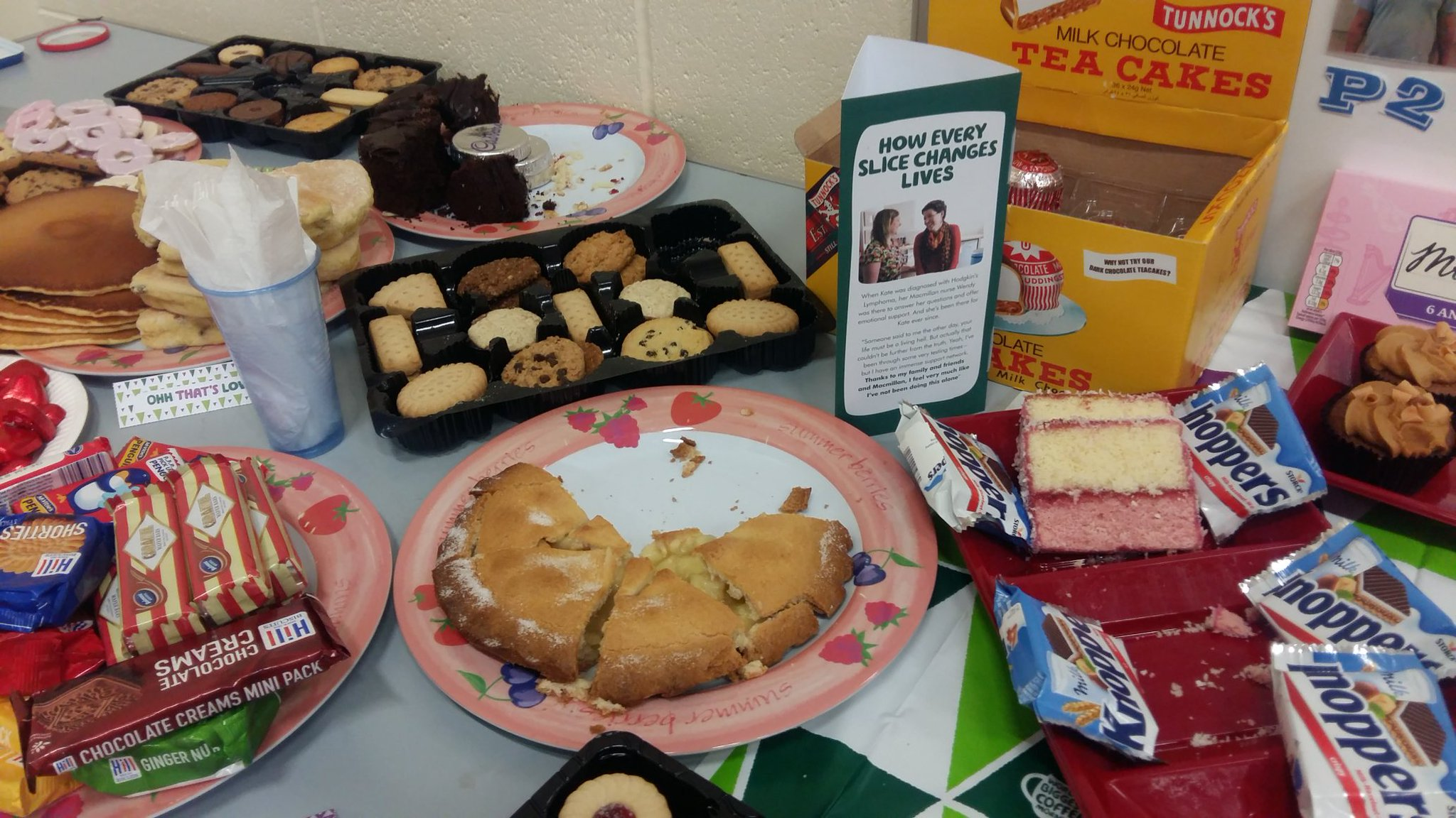 Excellent display of cakes and biscuits @BurghPrimary in aid of #macmillancoffeemorning https://t.co/ktdpjVFSnY