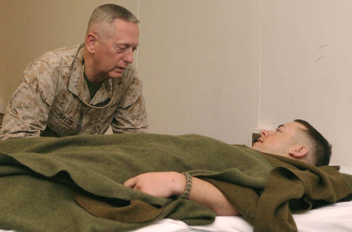 #FBF: A listening ear. Then @USMC Lt. Gen. Jim Mattis visits a wounded #Marine in #Iraq in 2006. #flashbackfriday