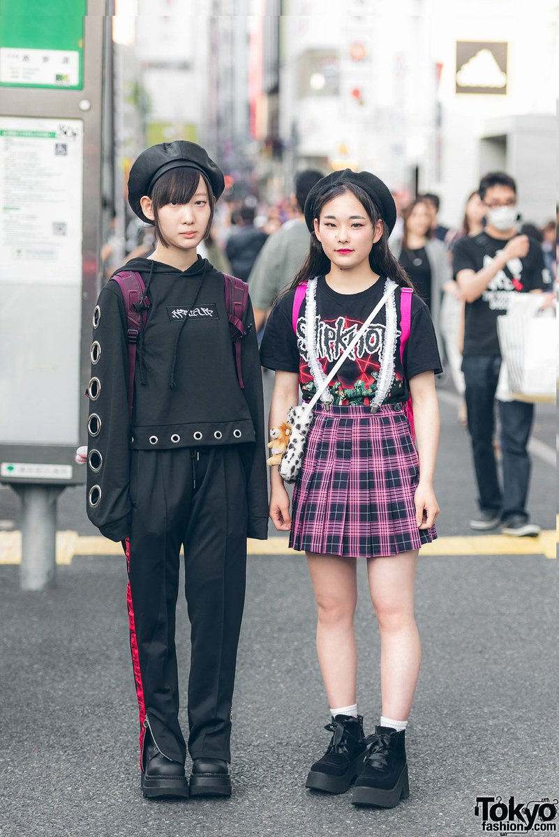 2f01f62a8 harajuku girls in black amp plaid street styles by peco club bubbles  nevermind the xu me