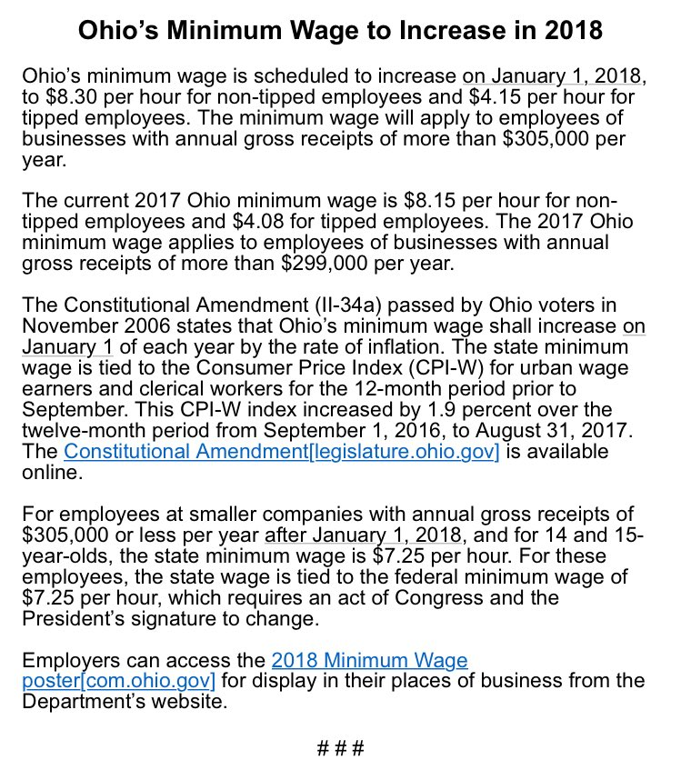 Gov  kasich's office announces ohio minimum wage to increase