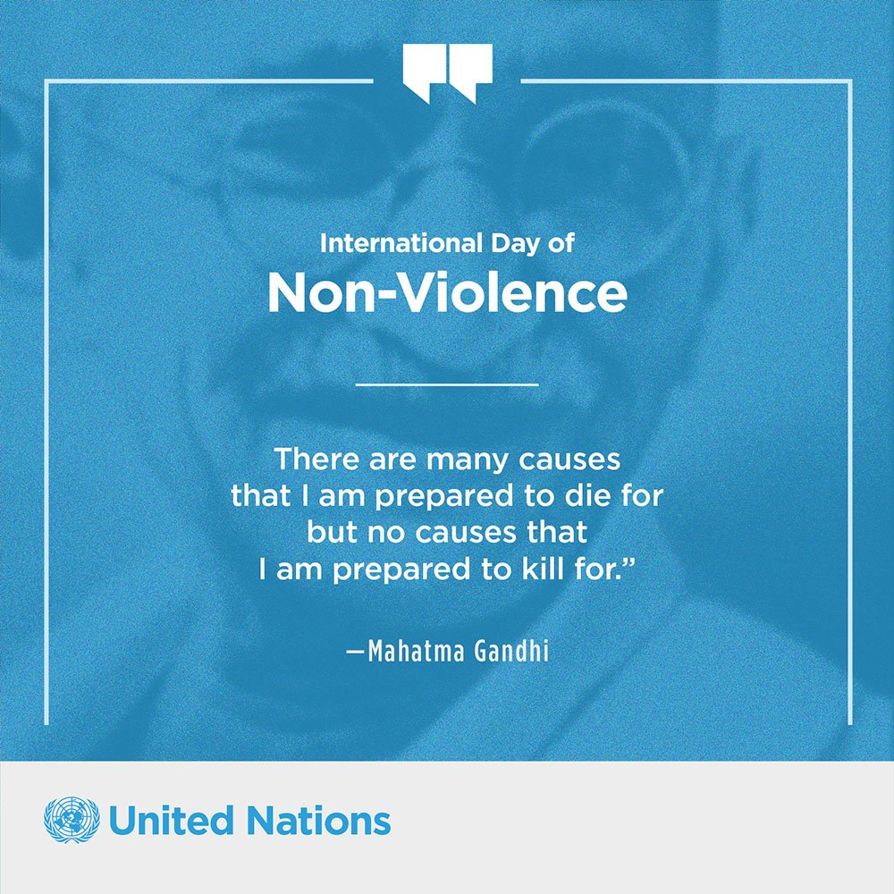 Monday is the Intl Day of Non-Violence in honour of the birthday of Mahatma Gandhi. Details: https://t.co/9pAFScf3mR