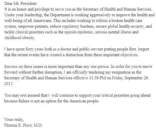 Michael Rios On Twitter Tom Price Resignation Letter I Regret