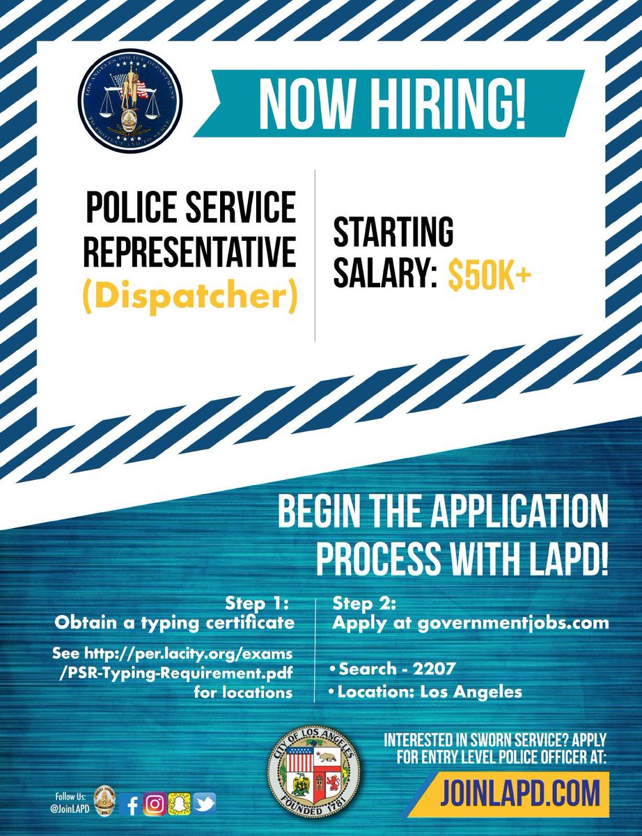 Lapd Communications Division On Twitter 911lapd Is Hiring Come