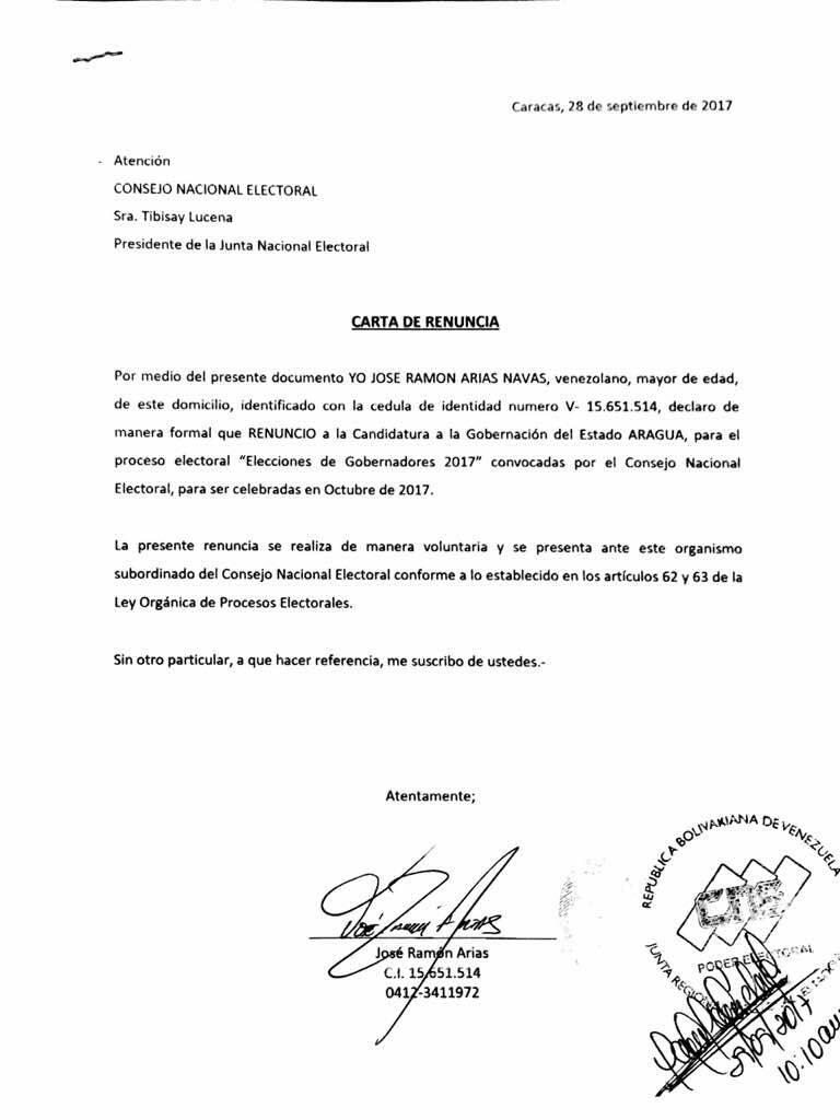 Jose Ramón Arias A Twitter Nuestra Renuncia Ante El Cne A