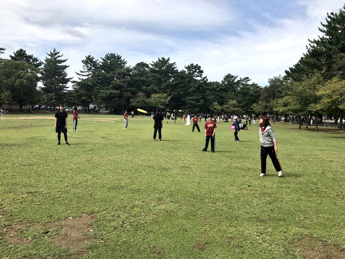 夏休みラストトレ‼︎  秋の奈良公園は鹿と人だらけでした笑 そんななかアルティメットをしました🌟 さて後期が始まります‼︎がんばりましょう🙆🏻