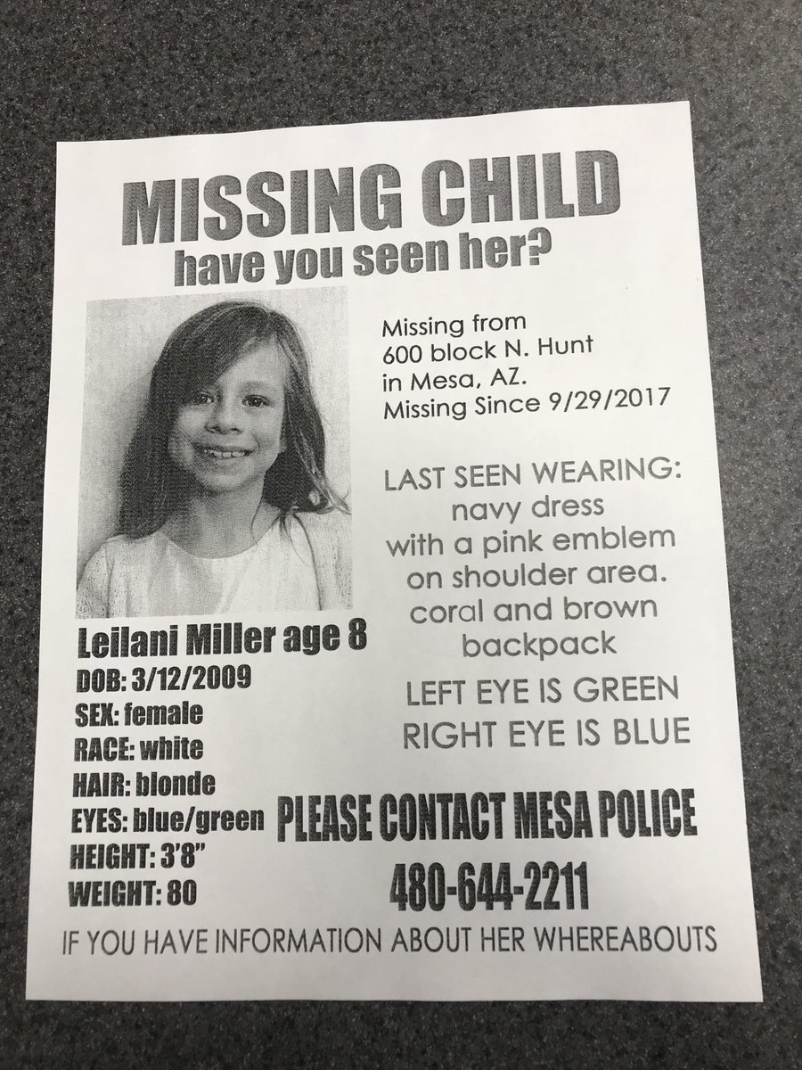 MPD still searching for Leilani Miller. Ctc 480-644-2211 with any info. Lets bring her home safe. https://t.co/KzjQO3zr0K