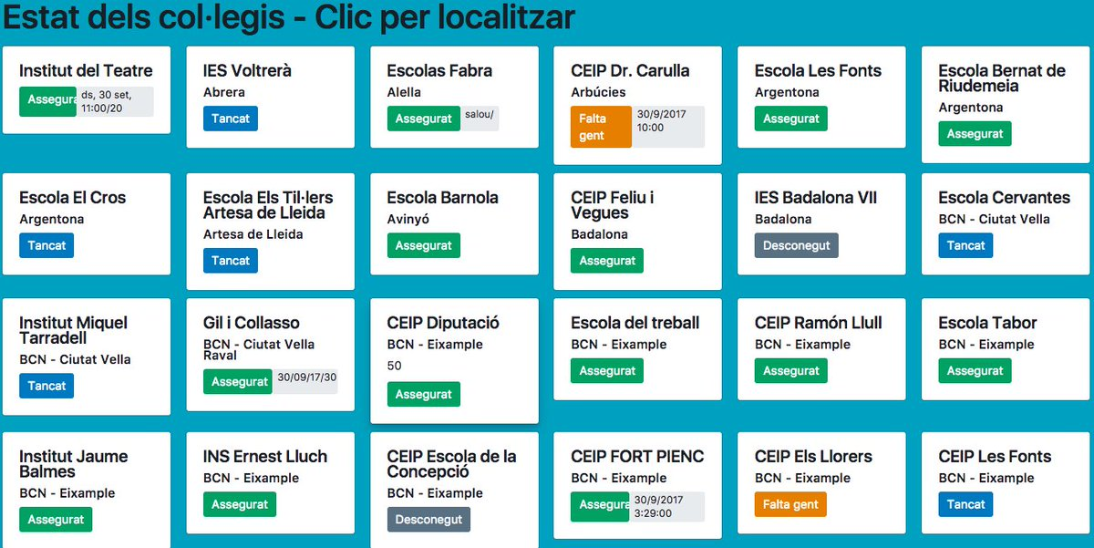Visualitza l'estat de cada Col.legi electoral https://t.co/z0l2nqYwrF Busca el teu, o esbrina on cal ajuda https://t.co/YLWtC2LMY4