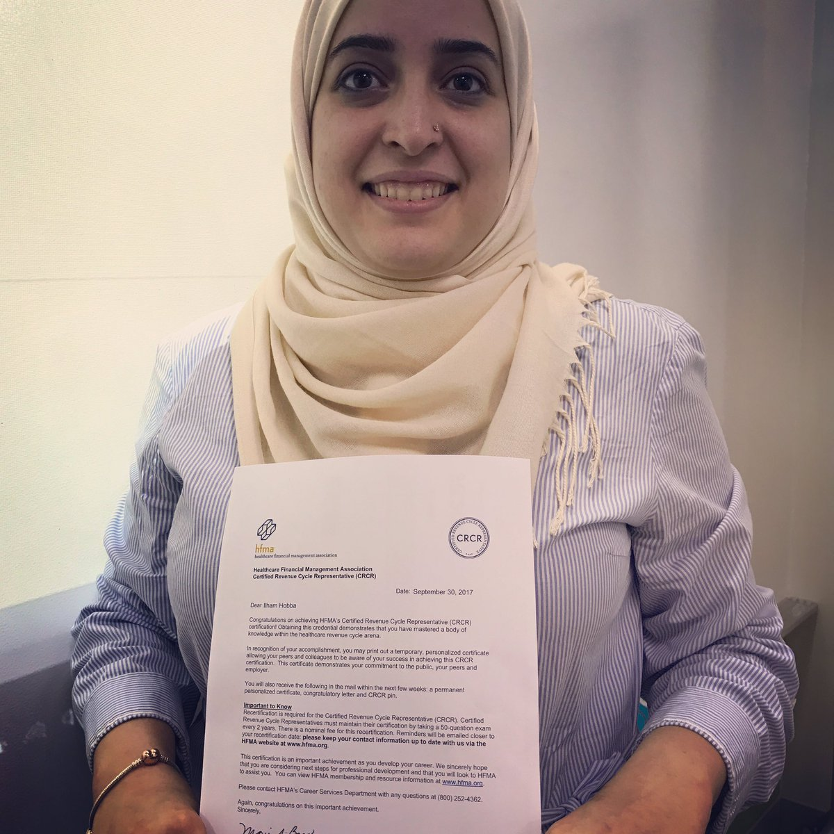 Jill c anderson on twitter so proud of ilham hobba she is the she is the latest cernerme revenue cycle associate to pass the hfma crcr exam today onecme onecmepride httpsthwsc6s9hfp xflitez Images