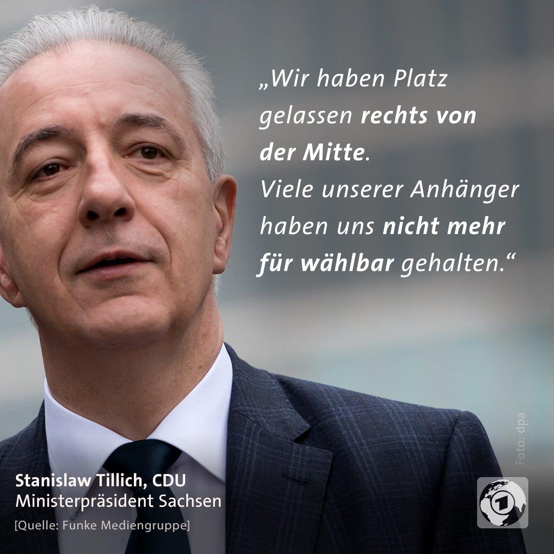 """Stanilslaw Tillich, CDU, Ministerpräsident Sachsen: """"Wir haben Platz gelassen recht von der Mitte. Viele unserer Anhänger haben uns nicht mehr fürwählbar gehalten."""""""