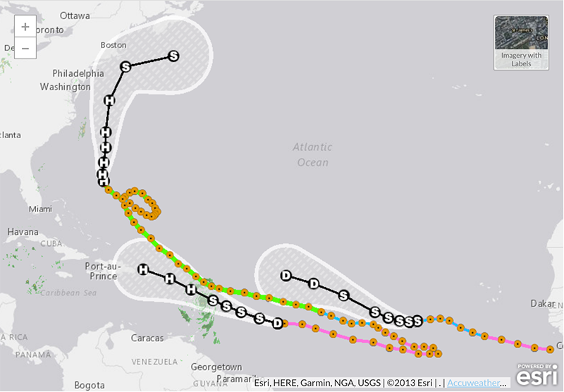 All current hurricane and tropical weather events mapped with the @AP_Interactive Hurricane Tracker. https://t.co/4zT0gK6zjC