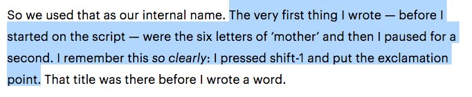 """Darren Aronofsky describing the first time he typed the title """"mother!"""" is just https://t.co/5rh3bnDkxS"""