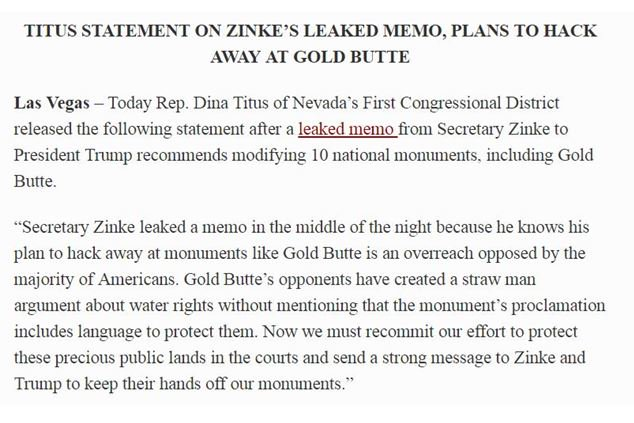 Memo Outlines Education Dept Plans To >> Dina Titus On Twitter My Full Statement On Zinke S Leaked