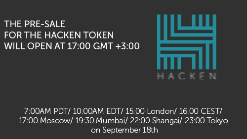 Less than 3 Hours Left Until the First Stage of #Hacken #Token Sale! 7:00AM PDT; 10:00AM EDT; 15:00 London; More:  https:// goo.gl/tHDMeC  &nbsp;  <br>http://pic.twitter.com/JQRU694CI6