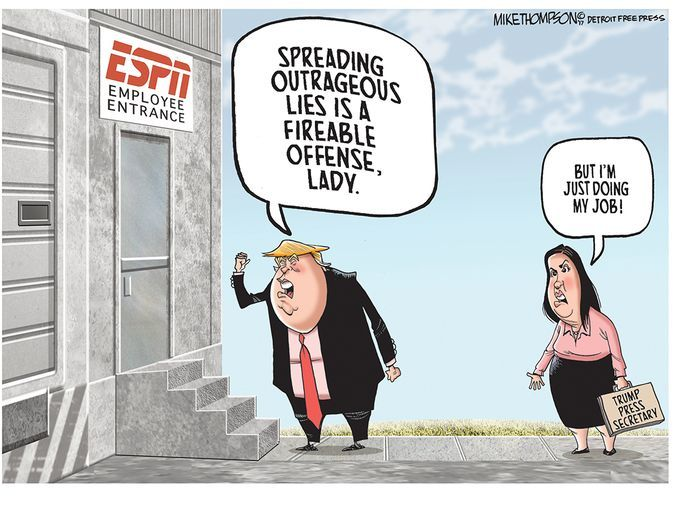 Editorial cartoon by Mike Thompson #ESPN #Donald #Trump #DonaldTrump #alternativefacts #WhiteNationalism #WhiteSupremacy #WhitePower<br>http://pic.twitter.com/kEa7jFWDrf