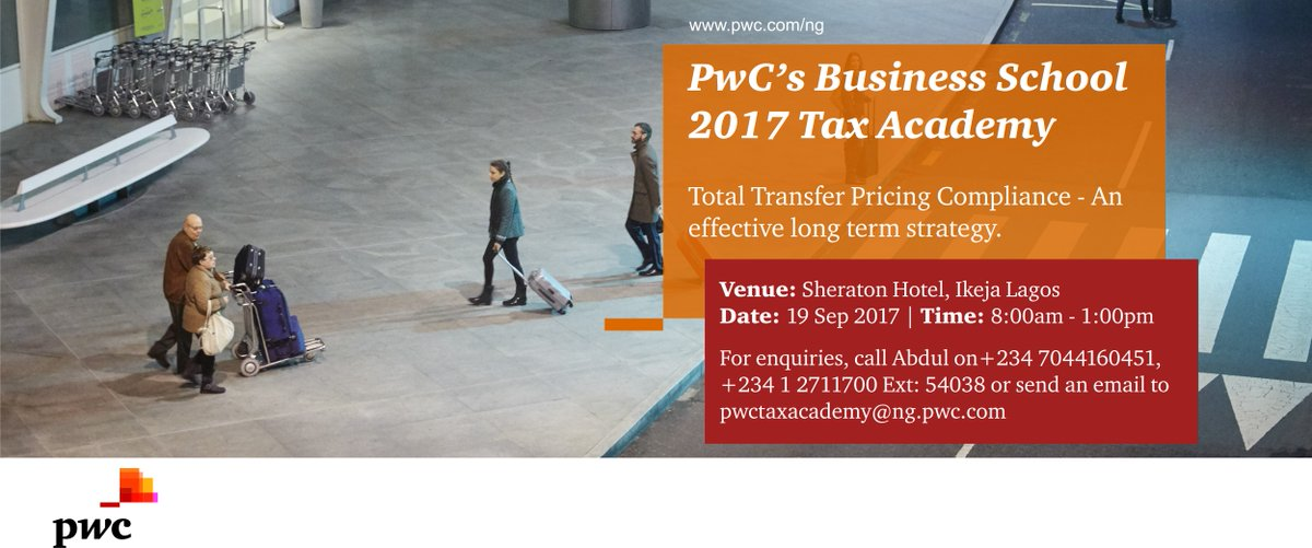 Our #TaxAcademy this September in Lagos will focus on &#39;Total Transfer Pricing Compliance&#39;. #Deadline. See image for registration details: <br>http://pic.twitter.com/nppM5aOAU7